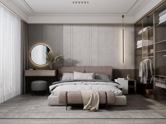现代卧室 双人床床头柜组合 梳妆台
