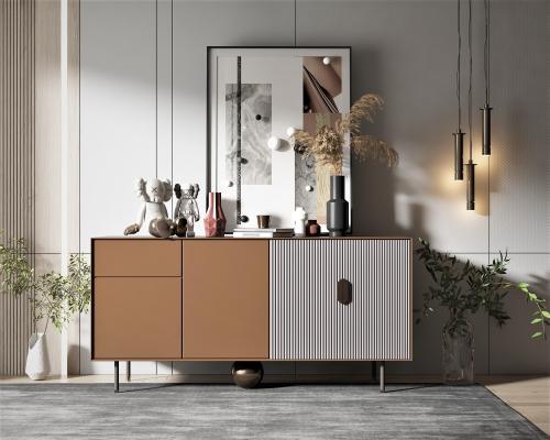 现代风格边柜,墙饰,饰品摆件