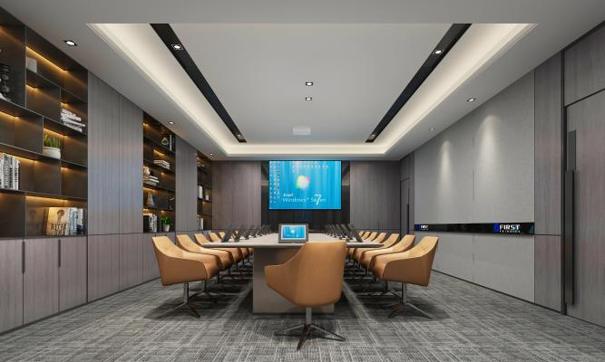 现代会议室 投影仪 书柜