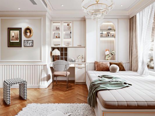 欧式轻奢榻榻米卧室 床 装饰柜