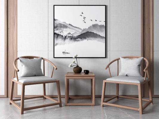 新中式休闲椅 挂画