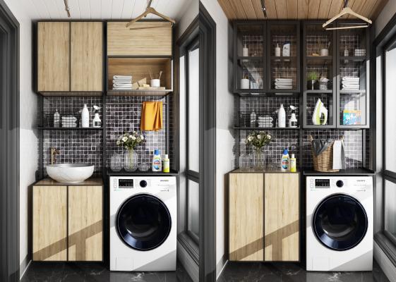 现代阳台洗衣机吊柜储物柜组合