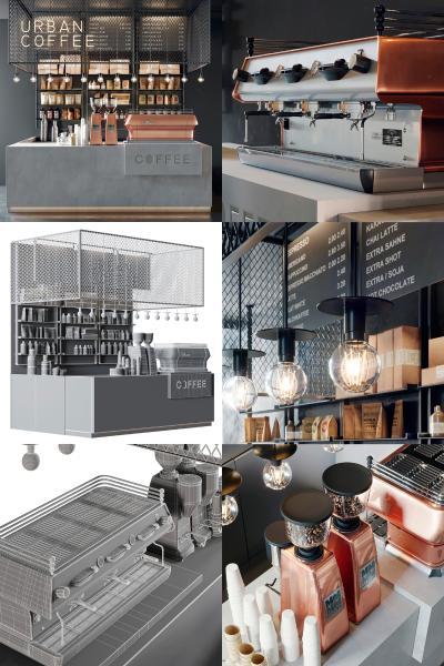 工业风咖啡厅酒吧吧台收银台