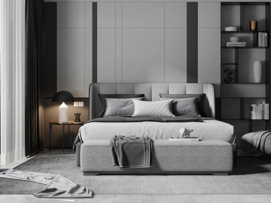 现代双人床组合