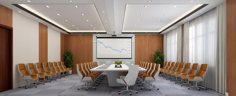 現代會議室 投影儀 會議桌椅