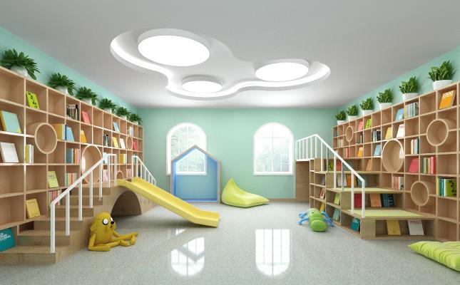 现代儿童阅读室 儿童娱乐室 儿童滑梯