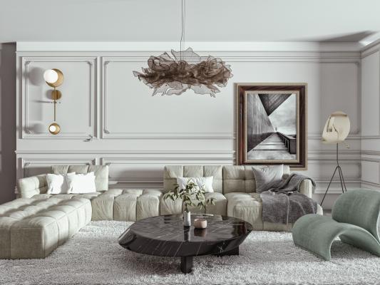 現代沙發茶幾組合 轉角沙發 單人沙發