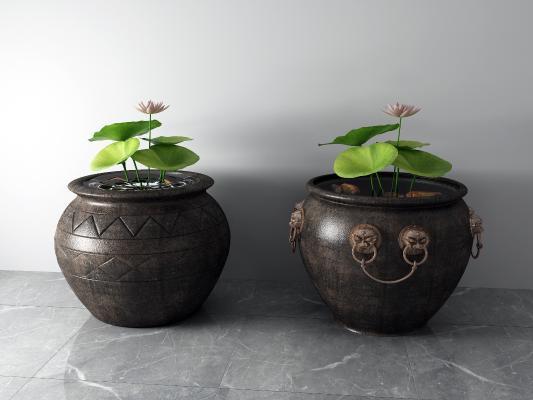 中式水缸 荷花