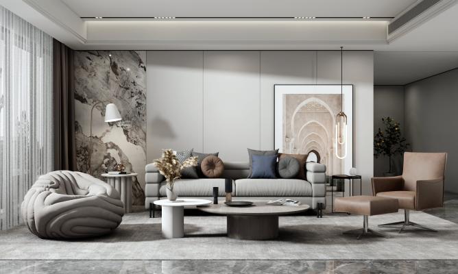 现代客厅 沙发茶几组合 懒人沙发 单人沙发