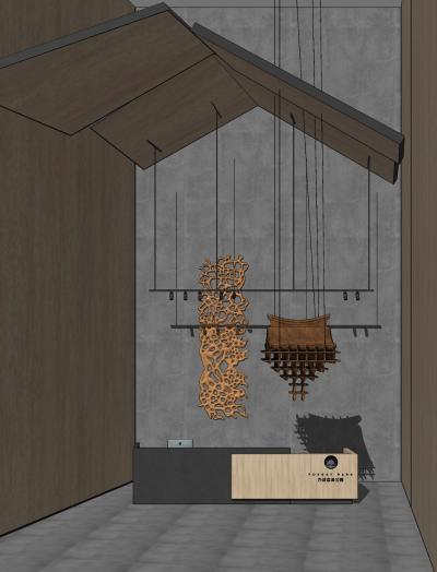 现代售楼处 接待大厅 服务台 吊灯组合