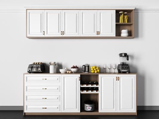 现代实木餐边柜柜子 餐具杯子 榨汁机