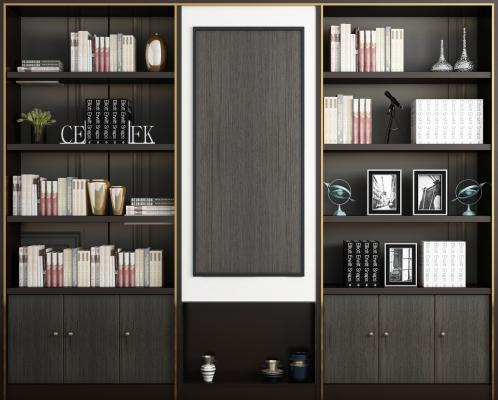 现代书柜 摆件组合