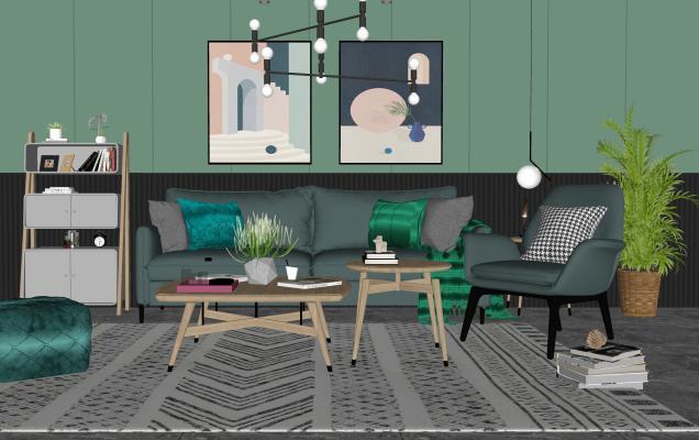 現代沙發茶幾組合