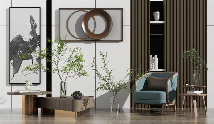 现代玻璃花瓶绿植 摆件 背景墙组合
