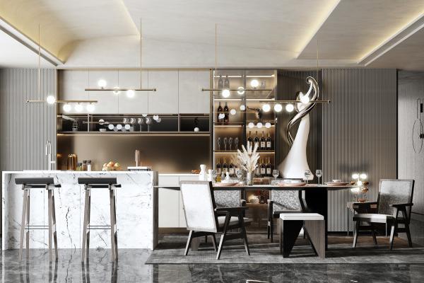 现代餐厅 吧台 吧凳
