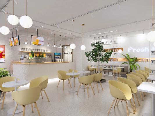 现代ins奶茶店 桌椅 隔断