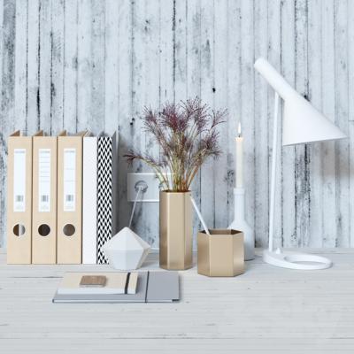 现代花瓶 办公文件 台灯 摆件组合