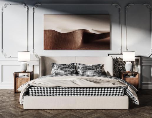 现代双人床 卧室