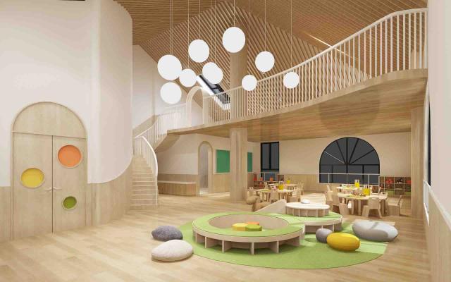 现代幼儿园活动教室 吊灯 桌椅