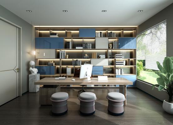 现代书房 书柜 书桌