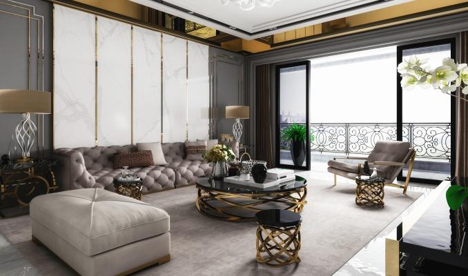 現代輕奢高級灰客廳