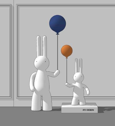 现代雕塑 兔子雕塑 装饰品