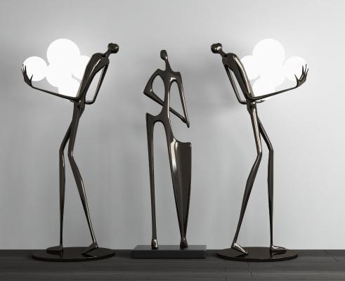 现代抽象人物雕塑组合
