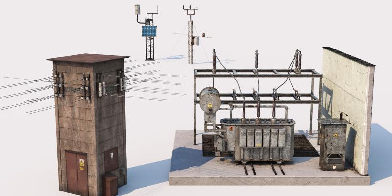 现代工业设备 发电机 电线杆