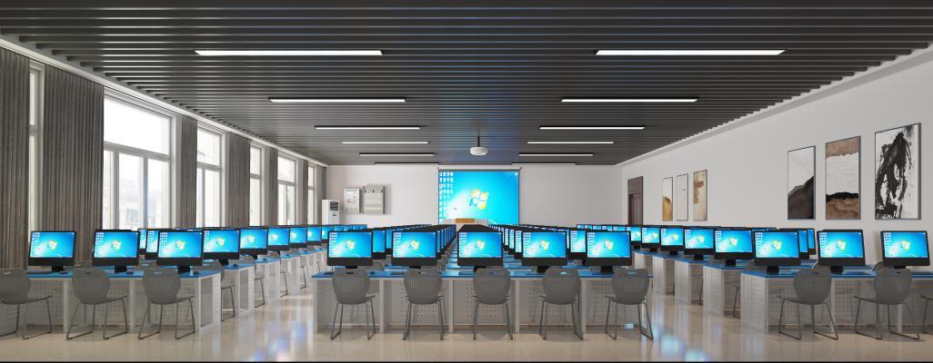 现代电脑房 微机室 微机房