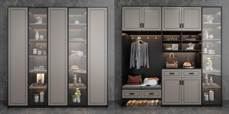 现代轻奢鞋柜 装饰柜组合