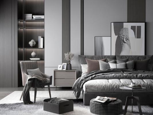 现代黑白灰双人床
