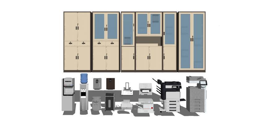 现代文件柜 打印机 饮水机组合