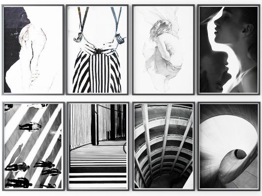 后现代黑白挂画