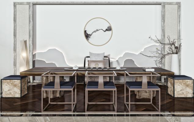 新中式泡茶桌椅 茶桌椅 茶具