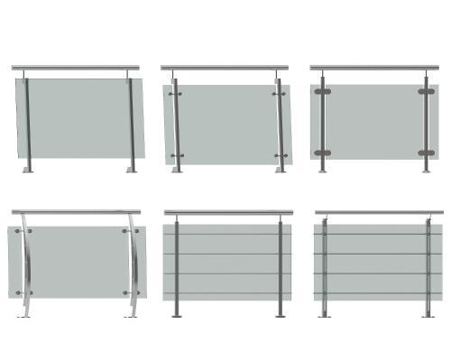 现代不锈钢玻璃栏杆扶手组合