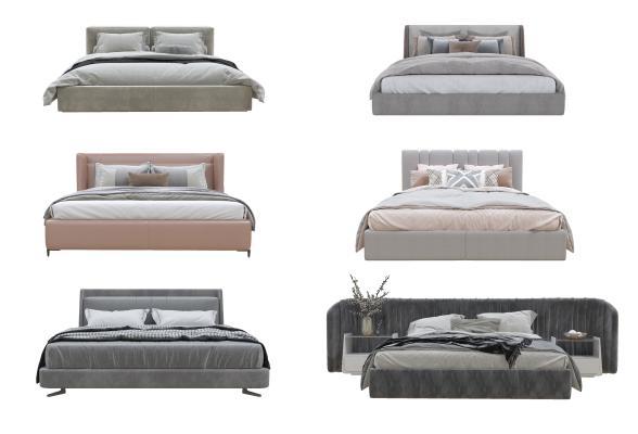 现代双人床 布艺双人床