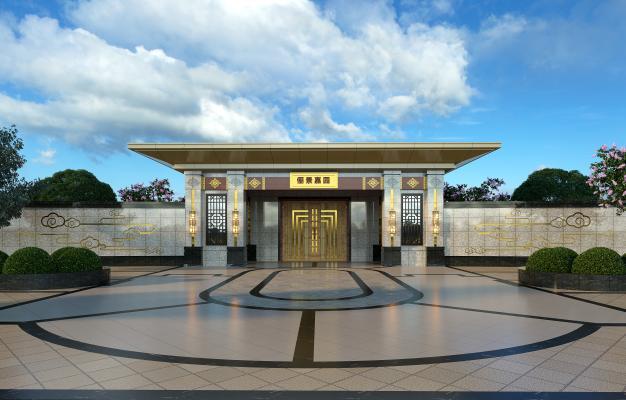 新中式风格住宅区 小区大门