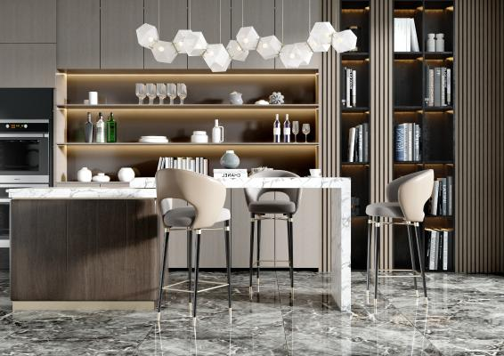 现代吧台 吧台椅 酒柜 吊灯 装饰品