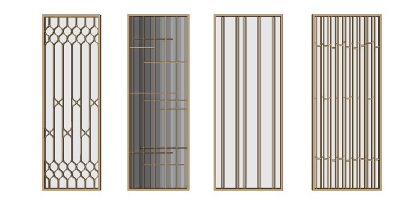 现代金属边框雕花玻璃隔断