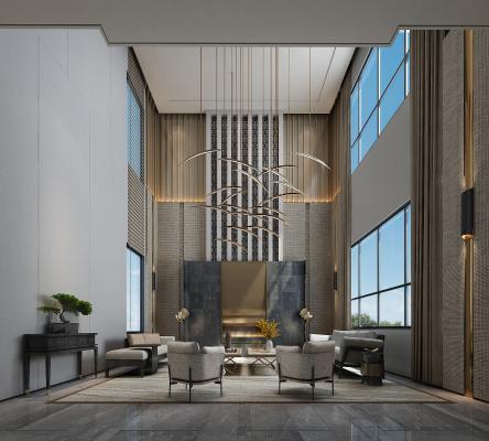 现代挑空客厅 沙发 吊灯