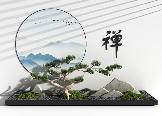 新中式松树假山 园艺小品