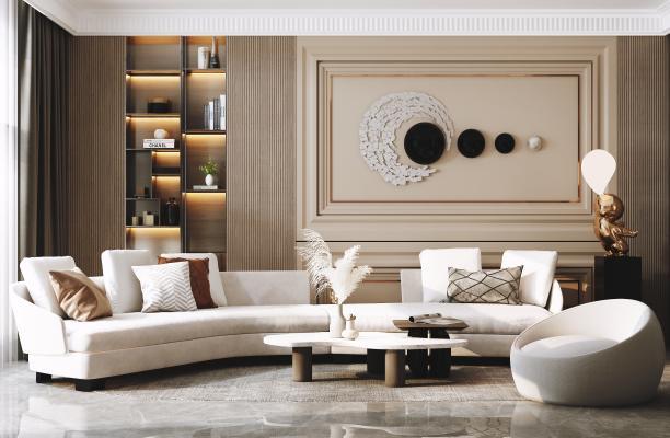 现代客厅 沙发 茶几组合