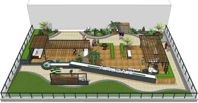 現代庭院景觀 屋頂花園 景觀小品