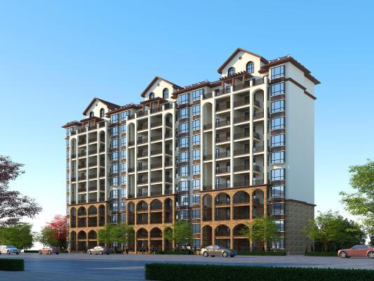 地中海风格住宅 简欧11层住宅 西班牙风格高层住宅