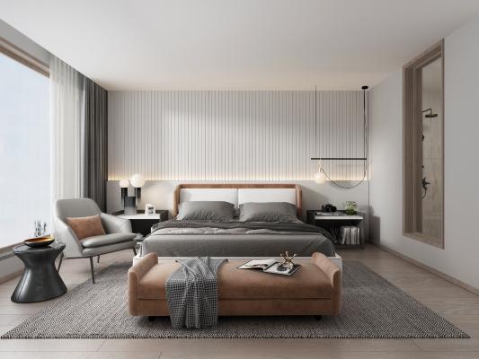 現代簡約臥室 吊燈 雙人床
