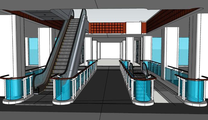 电梯口 走廊 玻璃扶手
