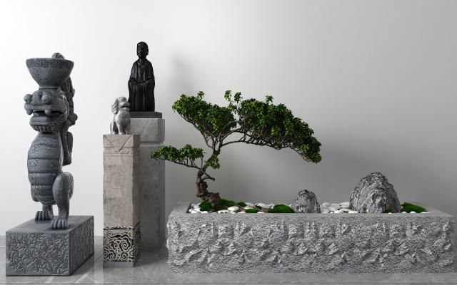 中式景观小品 石狮子
