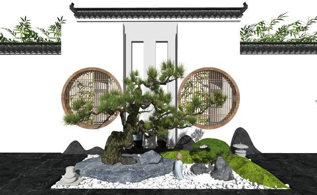 新中式庭院景观 景观小品 背景墙