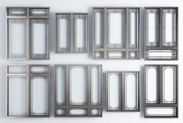 新中式窗户窗框组合 窗户 窗框