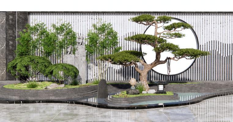 新中式假山水景 庭院景观 景墙围墙